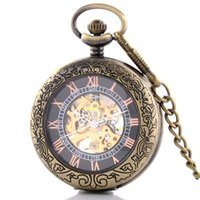 Wholesale Good Skeleton Faces - Wholesale-Antique Bronze Clock Transparent Open Face Steampunk Skeleton Mechanical Pocket Watch For Men Gift Free Shipping Good Quality