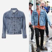 Wholesale Vintage Coat Xs - Wholesale- S-L veste homme men clothes hip hop brand clothing gd jackets coat kanye justin bieber fear of god jean denim jacket
