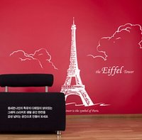 Mur autocollant Promotion Vente Grand Tour Eiffel Sticker Mural 250x170 cm Canapé Tv Arrière-Plan Landmark Home Decor Main Peinture Papier Peint Ville