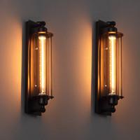 ingrosso luce lanterna d'epoca-Lampade da parete vintage a soppalco Applique da parete industriale americana Edison T300 E27 Illuminazione da letto Lampada da parete a lanterna ad occhio per illuminazione della casa