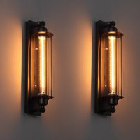 lampe à lanterne murale achat en gros de-Lampe murale Vintage Loft Lampe murale industrielle américaine Edison T300 E27 Éclairage de lit Lampadaire Éclairage mural Éclairage mural