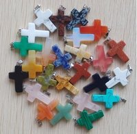 cruces de piedra para hacer joyas al por mayor-30 unids tamaño 18mm * 25mm * 5mm de alta calidad de piedra natural colores mezclados cruz encantos de piedras preciosas colgantes para la pulsera de la joyería que hace