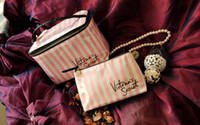 Wholesale New Makeup Cases Bags - 2017 New women VS lwaterproof cosmetic bag female Pink and white striped bag lady fashion makeup bag
