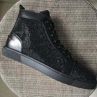 Wholesale Black Skin Rhinestones - New 2017 mens womens black sheep skin with black rhinestones red bottom high top sneakers,design new brand causal sports shoes 36-46