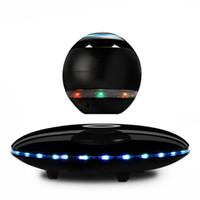 Wholesale Magnetic Cards Reader - LED Portable Magnetic Levitating Floating Bluetooth Speaker Magnetic suspension wireless for smart phones