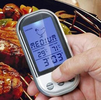 Wholesale Food Grilling - Digital Wireless Remote Thermometer temperature meter tester Oven Food Meat BBQ Grill Kitchen Tool with backlight