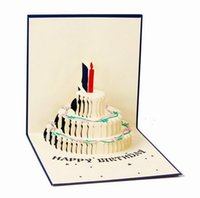 Wholesale Anniversary Invitation Cards - Birthday Cake Candle Design Greeting Card 3D Handcrafted Origami Envelope Invitation Card Kirigami Anniversary Pop Up Wholesale
