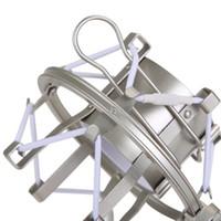 Wholesale mic shock mount - Universal Silver Metal Microphone Shockproof Mount Clip Holder Studio Sound Condenser Microphone Mic Stand Holder Shock Mount