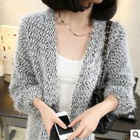 Wholesale mohair knitwear - Wholesale-2016 hot sale new fashion plus size women sweater long mohair loose coat knitwear lantern sleeve knitting shirt cardigan C0380
