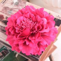 Wholesale Large Silk Roses - 13cm High quality Large Silk Peony Flower Heads Wedding Party Decoration Artificial Simulation Silk Peony Camellia Rose Flower Wall Wedding