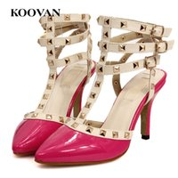 Wholesale Three Point Buckle - Rivets High Heel Women Pump Fashion Designer V Brand Three Straps Wedding Shoes Sexy Sandals Genuine Leather Pointed Shoes Free Ship R 01