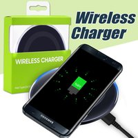 Wholesale Iphone Au - High Quality Universal Qi Wireless Charger For IPhone X Samsung S6 Note 8 Galaxy S7 Edge Mobile Charging Pad With Package USB Cable