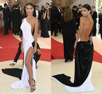 Wholesale Met Dress - Sexy Met Gala Celebrity Evening Dresses One Shoulder High Split Tulle Elastic Satin Black White Long Prom Dresses Tan See Through Back