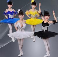 prenses peçe çocuk toptan satış-Çocuk Bale Etek Peçe Kostümleri Dans Prenses Etek Acı Fleabane Üniformaları Performans Giyim Kız Payetli Leotard Dans Giymek