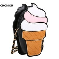 Wholesale Small Cupcake Cases - Wholesale-Womem Ice Cream Bags Pu Leather Messenger Bags Small Cupcake Mini Coin Case Handbags Chain Bag Crossbody Cute Girls Bag