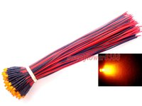 Wholesale 3mm Pre Led - Wholesale- 20pcs 3mm Pre Wired Orange Diffused Led Light Lamp 12V DC 20cm Prewired LED New