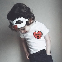 Wholesale Children Clothes Design For Boys - 0-6T Boys Girls 100% Cotton T-shirts Tees For Baby Babies White Heart Design Short Sleeve Shirts Tees Clothes Children Kids Tees Shirts Tops
