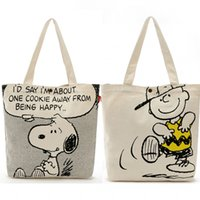 Wholesale Day White 38 - Wholesale Two-sided Kawaii Snoopy Cartoon Dogs Canvas Shopping Bag 33*38*8CM Handbags For Women Large capacity bags Christmas Gifts