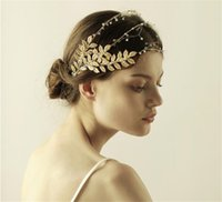 Bandeau baroque Feuille de mariage Accessoires de cheveux nuptiaux Bijoux Headpiece Crown Tiara Beads Hair Band Feuilles d'or Headdress Pieces Jewelry