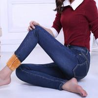 Wholesale Cotton Trousers For Women - Wholesale- New Winter Jeans Women Plus Velvet Thicker Women's Clothing Stretch Pencil Jeans For Women Warm Trousers Cowboy Pants C1496