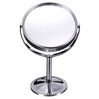 Wholesale Double Magnifying Glass - Wholesale- Lady Table Desk Standing Dresser Cosmetic Mirror Double Sided Normal and Magnifying Women Beauty Rotating Portable