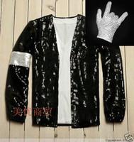 Wholesale Mj Clothing - Wholesale- Mj Michael Jackson clothes costume billie jean clothes men singers dancer stage show sequins coat XXX-3XL free shipping