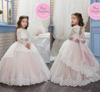 Wholesale images cute girls beautiful flower for sale - Group buy 2017 New Princess Beautiful Lace Flower Girls Dresses Tulle Lace Appliques Long Sleeves Girls Wedding Dresses With Sash Cute Hollow Back