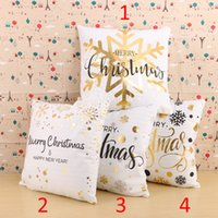 Wholesale Decorative Stamps - Happy New Year Gold Stamp Decorative Pillowcase Soft PP Cotton Snowflake Merry Christmas Pillow Cases 45x45cm Home Party Decor