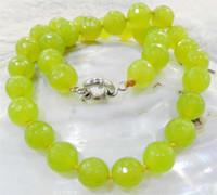 gelbe jaspis halskette großhandel-Natürliche Perle EDELSTEIN Kostenloser Einkauf! Großhandel 10mm gelb facettiert Peridot Runde Jasper Perlen Halskette Schmuck