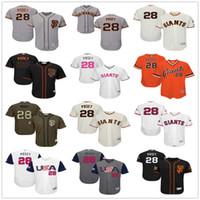 Wholesale Mens Fashion Red Black - New #28 Buster Posey San Francisco Giants Mens SF Black White Fashion Stars Cream Orange Pull Down Gray Majestic MLB Baseball Jerseys