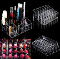 Wholesale Lipstick Display Racks - Clear Acrylic 24 Lipstick Holder Display Stand Cosmetic Organizer Makeup Case makeup organizer e Display Stand Rack Holder KKA2379