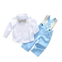 Wholesale Baby Boy Shirt Pants Suspenders - Baby Boys Clothes Spring Boys Cotton Bow Shirts with Suspender Pants 2018 Kids Boys Fashion Gentleman Outfits Kids Clothing