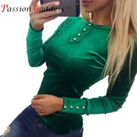 Wholesale Velvet Long Sleeve Top Women - High Quality New 2017 Spring Women Velvet T shirts Tops Tees Long Sleeve Button Cotton Casual female t-shirt Pink Red Green Blue q170697