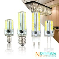 Wholesale Candle Leds Bulbs - Led Light G9 G4 Led Bulb E11 E12 E17 G8 Dimmable Lamps 110V 220V droplight Bulbs 3014 SMD 64 152 Leds Sillcone Body