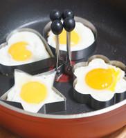 coração, formado, ovo, fritar, anéis venda por atacado-4 pçs / lote omelete de Aço Inoxidável dispositivo Anéis de Ovo Moldes Cozinha Pancake Fried Ferramentas Estrela Rodada Plum Flor Coração Formas Molde Huevos