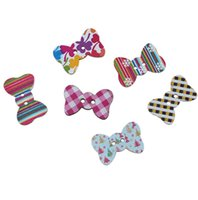 Wholesale Christams Decorations - Kimter Random Mixed Christams Bow Shape Wooden Sewing Button With 2 Holes 25x16mm For Doll Decorations Crafts Pack Of 50pcs I533L
