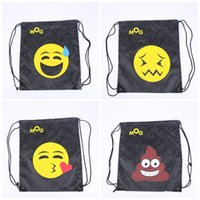 Wholesale folding clothes for travel - Emoji Bundle Pocket Waterproof Lovely Both Shoulders Backpacks For Outdoor Travel Portable Storage Drawstring Bag 4 8sp C R