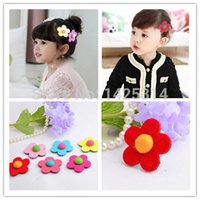 Wholesale cute hair bangs - 30pcs Specials Children woolen small flowers magic stick girls Cute stickers affixed bangs fixed Baby hairpin hair accessories