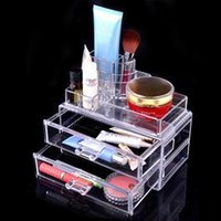 Wholesale Transparent Nail Display - Nail Polish Varnish Display Stand Transparent crystal 24 desktop lipstick plastic cosmetic Holder