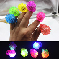 Wholesale toy torches resale online - HOT LED Finger Ring Strawberry Glow Light Ring Torch Lights Flash Beams Light Halloween Party LED Toys Wedding