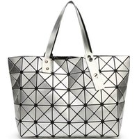 Wholesale Tote Purse Handles - New Foldable Geometric Split Joint Plaid Totes Big Sequins Top Handle Bag Diamond Lattice Ladies Designer Handbag Purse Women Cube Tote