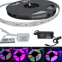 Wholesale Ic Ribbon - 5M SMD 5050 RGB LED Strips 54pcs m Red Green Blue Led 12V YC105 IC Control Marquee Lamps RGB Ribbon Strip For holiday
