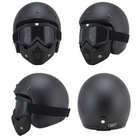 Wholesale Cooler Atv - Wholesale- ONE SET Motorcycle MTB ATV Dirt bike 3 4 Helmets With Skull Cool Goggles Personalized vintage for halley motorcycle Helmet
