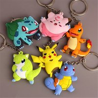 Wholesale Action Man Car - keychains key chains key rings Pikachu Charmander Bulbasaur Squirtle Eevee Snorlax Magikarp Meowth Dragonite Action Figure Keychain Keyring