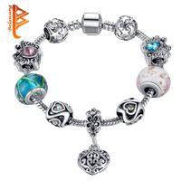 Wholesale Crystal Butterfly Leather Bracelet - BELAWANG Mother's Day Gift Silver Crystal Butterfly Charm Bracelets For Women Heart Star Pendant&Murano Glass Beads Bracelets Jewelry