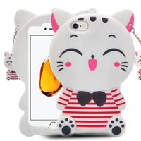 Wholesale Cat Cell Case - With Pendants Soft Cartoon Cat Silicone Cell Phone Case For iPhone 6G 6plus 7G 7plus P8 P8lite P9 Mate 9 Mobile Phone Case