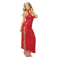 Wholesale Night Wear Underwear - Wholesale- Plus Size S-6XL Women's Red Long Dress Night Wear Sexy Nightgown Lingerie Lace Temptation Underwear Women's Sleepwear Tracksuit