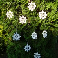 Wholesale Pink Snowflake Ornament - 100% Cotton One Set 12pcs - Handmade Crochet White Lace Snowflakes ,Home Decorations ,Christmas Tree Hanging Ornaments