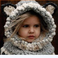 kedicik şapkası toptan satış-En çok satan sıcak Kore Kış Sıcak Boyun Wrap Tilki Eşarp Sevimli Çocuk Yün örme Şapkalar Caps Bebek Kız Şal Kapüşonlu Kukuletası Beanie Caps