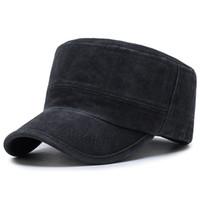 стиль короля шляпы оптовых-King Star Classic Мужские Регулируемые Военный Стиль Плоские Хлопчатобумажные Шапки Лето Солнцезащитный Козырек Бейсболка Гольф Спорт на открытом воздухе Trucker